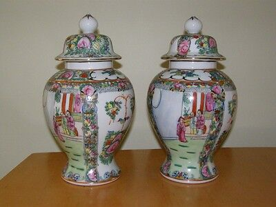 Pair of 20th Century Famille Rose Covered Jars - 12  1/2 inches