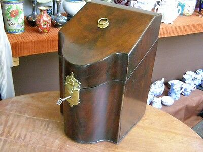 Antique Georgian Mahogany Knife Box with Original Brass Lock and Working Key