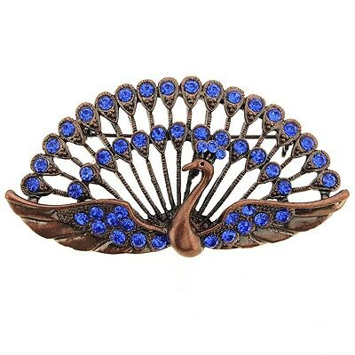 Vintage Style Sapphire Blue Crystal Peacock Pin Brooch. Shipping is Free
