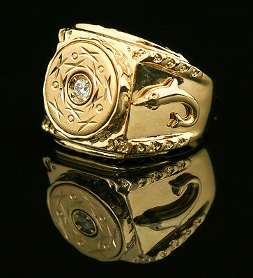 Men Rose Gold Plated Square Flat Circle Dolphin Diamond Created Wedding Ring R30
