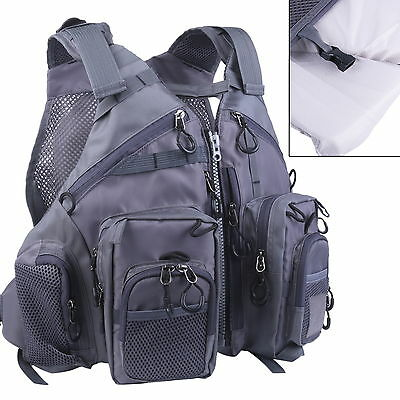 Fly Fishing Floating Vest Adjustable Mutil-Pocket Packs & Floatation Cushion