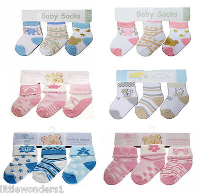 3 Pairs of Baby Socks Assorted Designs 0-3 Months Boys or Girls Blue/Pink/Cream