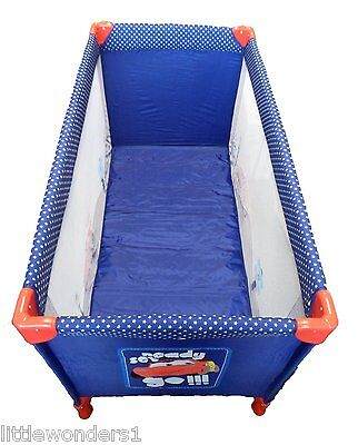 Portable Blue Lightning McQueen Cars Travel Cot Inc Carry Bag - Sheet Available
