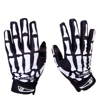 Biker Skeleton Bone Gloves Racing Cycling Motorcycle Mechanics Goth Full Finger