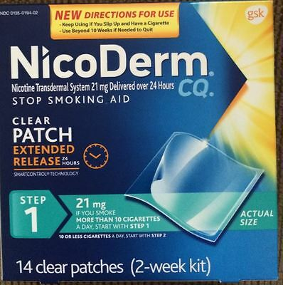 14 Nicoderm CQ Step 1 Nicotine 21 mg clear Patches STOP SMOKING aid 2 week 2018