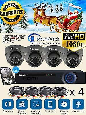 SecurityWatch DVR 8 Channel 1TB Hard Drive DVR Security CCTV Kit with 4 Camera