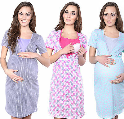 Mija / 2 in1 Maternity & nursing cotton nightdress nightshirt nighty shirt 4009