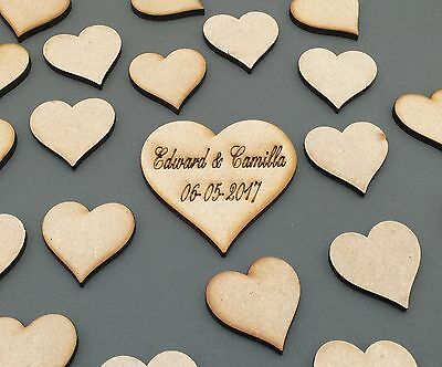 G1 75 x 50mm Engraved DIY Heart Wedding Guest Book MDF Big Drop Box Keep Sake