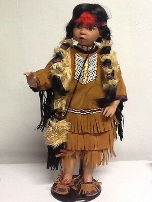 PREOWNED!! NATIVE AMERICAN INDIAN PORCELAIN DOLL With Stand by: Ashley Belle B26