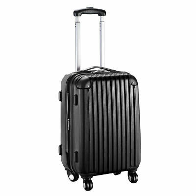"GLOBALWAY 20"" Expandable ABS Carry On Luggage Travel Bag Trolley Suitcase Black"