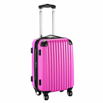 """GLOBALWAY 20"""" Expandable ABS Carry On Luggage Travel Bag Trolley Suitcase Pink"""