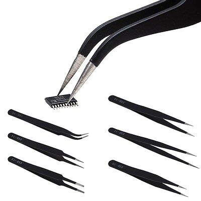 6Pcs ESD Anti-Static Stainless Steel Tweezer Set Tweezers Maintenance Tools New