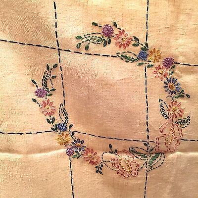 Vtg Tan Beige Tea Stained Linen Tablecloth Sm Crochet Lace Embroidered Flower