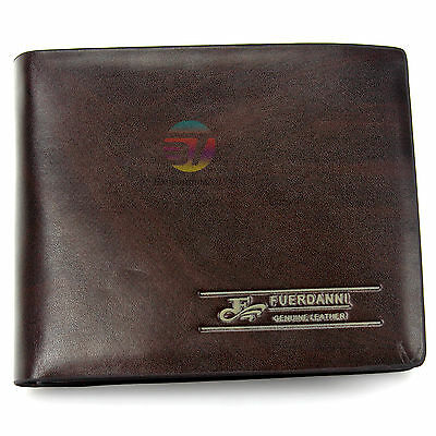 Mens Genuine Leather Wallet Purse Business Credit Card Holder Bifold Brown New