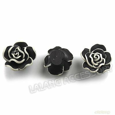 25pc Charms White Purfled Black Flower FIMO Polymer Clay Flatback Spacer Beads D