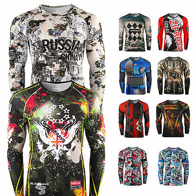 Zipravs Mens Womens Compression Shirts running MMA baselayers rashguard Top