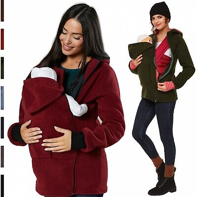 Happy Mama. Women's Maternity Fleece Hoodie Duo Top Carrier Baby Holder. 032p