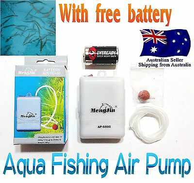 Fishing Live Bait Air Pump Aerator 1 Speed portable Oxygenated + Free D Bettery