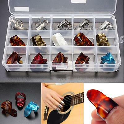 New 15pcs Celluloid Thumb Finger Guitar Picks Set Plectrum Picking With Case