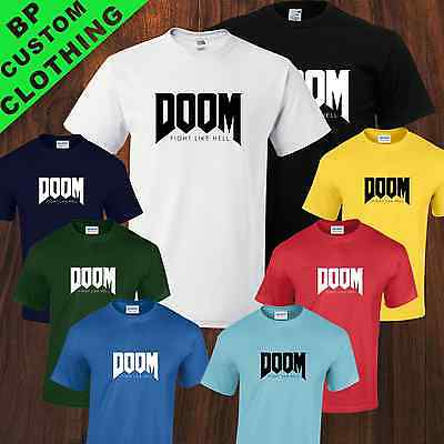 New Doom Fight Like Hell, Gamer Tshirt, Xbox One, PS4, 8 Colours sizes Small-5XL