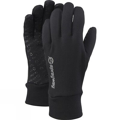 Mens Stretch Grip Gloves Sprayway Warm Walking Hiking Thin Gloves - Black
