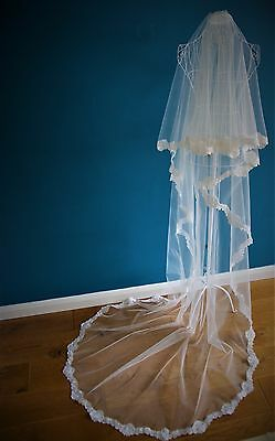 *Cathedral Length 2 Tier/ Drop Veil*off White/Ivory*Wide corded Lace*Bespoke *
