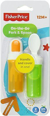 NEW Fisher-Price On-The-Go Fork and Spoon Set Orange & Green 2 Pack Feeding Baby