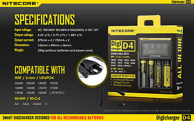 Nitecore EU  Plug Intelligent Battery D4 Charger For AA 16430 22650 18650 17670