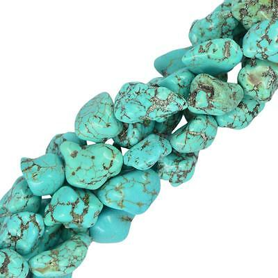 """Blue Turquoise Gemstone Beads Nugget For Jewelry Making Strand 16"""" DIY"""