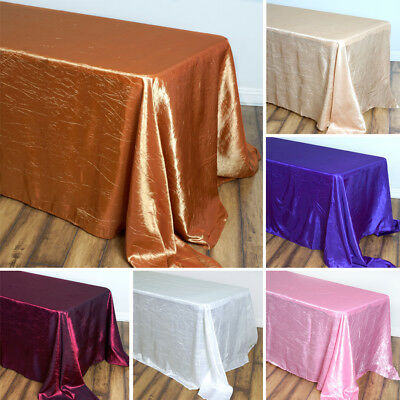 "5 pcs RECTANGLE 90x156"" Crinkled Taffeta TABLECLOTHS Wedding Party Catering SALE"
