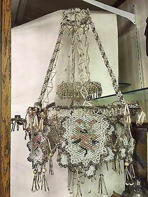 RARE! Unique Glass-Beaded Candle Chandelier with Candle Holders
