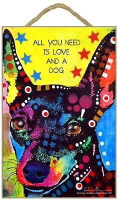 Miniature Pinscher Sign - All You Need is Love & a Dog 7 x 10.5