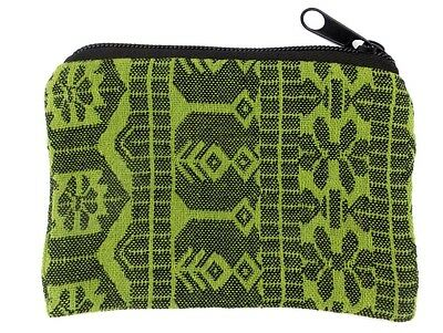 Green Geometric Coin Purse Bag Pouch Credit Card ID Holder Wallet 100% Cotton