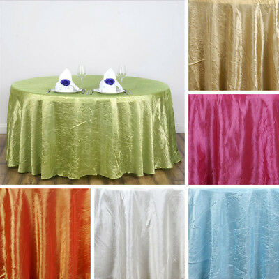 """15 pcs 117"""" ROUND Crinkled Taffeta TABLECLOTHS Wedding Party Wholesale Supplies"""