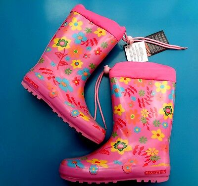 Girls Giesswein Warm Felt Lined Pink Floral Wellies Wellington Boot Uk1-1.5/Eu33