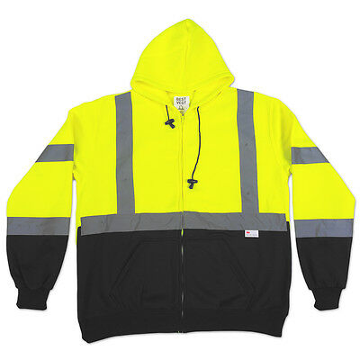 Hi Vis Class 3 Hooded Full Zip-up Safety Sweatshirt