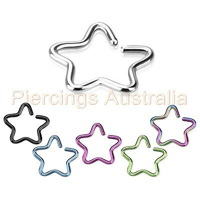 Star Clip On Fake Cartilage Ear Ring CHOOSE SINGLE OR PAIR