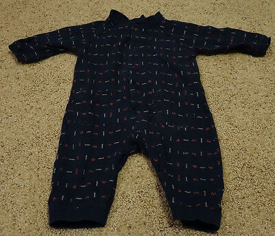 Infant BABY GAP Long Sleeve One Piece PAJAMAS  - SIZE 6-12 MONTHS - Blue