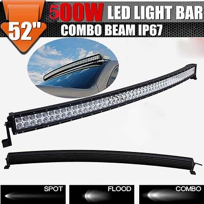 "52/53"" 500W ATV LED Curved Light Bar Combo Work Offroad Driving Light 4X4WD"