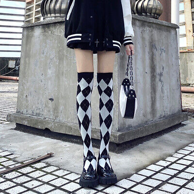 d9969a69452 Cute Lolita Knit Academ Gothic Check Over-Knee Thigh High Stocking Sock  Cosplay