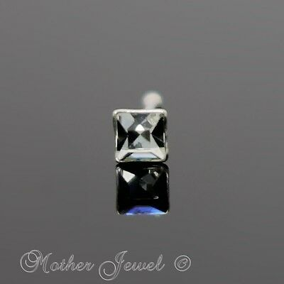 Real 925 Sterling Silver Square Clear Crystal Ball End Nose Nostril Bone Stud