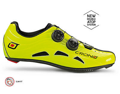 Crono hand made Italy Futura 2 FLUO YELLOW road cycling shoes 45 11 NEW RRP 275