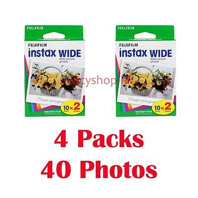 4 Packs FujiFilm Instax Wide Film, 40 Sheets Fuji Instant Photos 210 300
