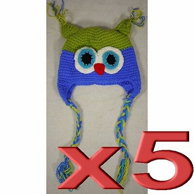 5pc Wholesale Bulk Lots Handmade Baby Beanie Woolen Knit Crochet Toddler Owl Hat