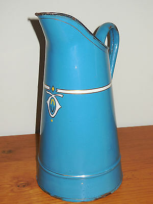 ANTIQUE FRENCH ENAMELLED PITCHER - Authentic enamelware graniteware  - ART DECO