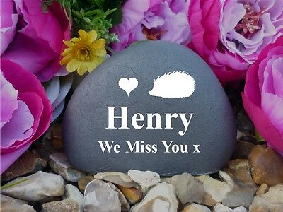 Pet Memorial Pebble - Hedgehog (Stone Effect) Weatherproof & Personalised (FS)