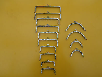 Job Lot 14 Purse / Bag Making Handles / Clasps. Silver Tone Dif shapes / sizes.