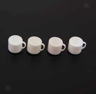 4 Miniature White Tea Coffee Mugs Cups Doll House Kitchen Dinning Accessory