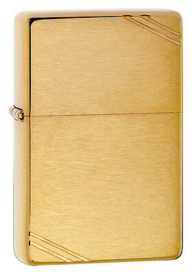 Zippo 240 Vintage Look Brushed Brass w/ Slashes Windproof Lighter NEW in box