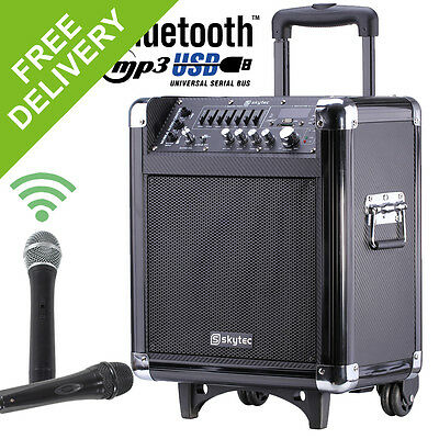 "Portable PA Speech Wireless Vocal System Battery Amp 8"" USB/SD + Mics & Cable"